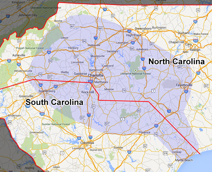 Carolina Bargain Hunter 2014 Coverage Area